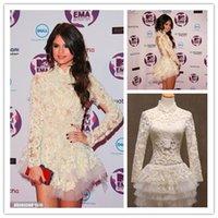 Wholesale 2015 Hot Women Dress Short Mini Long sleeved Selena Gomes Vestido De Festa Prom Dress Party Dresses Tulle Applique High Neck Sheer Back