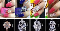 Wholesale New Fashion DIY Bridal Fingernail Paster Diamond Alloy Fingernail Paster Durable Cut outs Nail Accessory Golden Or Silver
