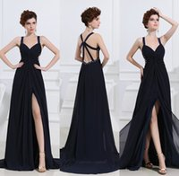 Wholesale Sexy Evening Dresses Spaghetti Straps Sweetheart Prom Gowns with Side Slit Beaded Sequins Backless Designer Formal Occasion Dresses