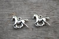 Traditional Charm baby antiques - 25pcs Horses Charms Antique Tibetan Silver Tone Mother and Baby horse pendants charms x13mm