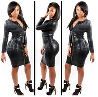 Wholesale Leather Dress Zipper Front - Sexy Club Black Women Dress Snake Skin Faux Leather Long Sleeve Bandage Dress Animal Print Front Zipper Midi Dress new arrive !!!