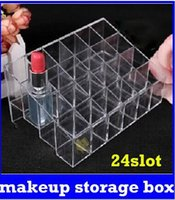 Wholesale 24 Trapezoid Clear Makeup LiCosmetic Organizer Storage pstick Holder Case Stand new top sale