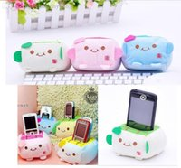 Wholesale cell phone holder peach mobile phone cushion plush toy lovers small gift
