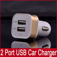 Wholesale Dual Port USB Car Charger Metal Plastic Ports Charger For iPad air iphone plus For Samsung Universal Car Charger V A