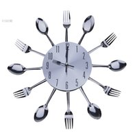 Wholesale Cool Stylish Modern Design Wall Clock Silver Kitchen Cutlery Utensil Vintage Design Wall Clock Spoon Fork Home Decor b6