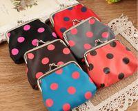 Wholesale new fashion mini women girl circle dot Coin purse money wallet burse coin purse mix color High quality