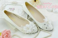 leather soles for shoes - 2016 New White Floral Lace Wedding Shoes Romantic Flowers Rhinestones Appliqued High Heeled Shoes for Brides Wedding Flat Sole Shoes CPA447
