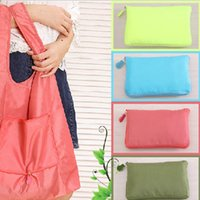 Wholesale Pieces Eco friendly Women Shoulder Bag Solid Waterproof Reusable Shopping Bag Foldable Waterproof Shopping Bag Folding Pocket