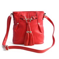 Wholesale Women s Tassels Retro Bucket Satchel pu Leather Shoulder Hobo Bag FF N02