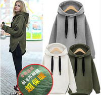 arm hoodie - Brand New Arm Green Winter Autumn Loose Hooded Jacket Plus Size Thick Velvet Long sleeve Sweatshirt Korean Style Hoodies