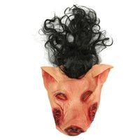 Wholesale Hot Sale Adult Size Latex Rubber Animal Mask Scary Pig Head Mask With Long Black Hair Halloween Party Horror Supplies