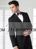 Wholesale Custom Made Two Buttons Black Groom Tuxedos Notch Lapel Wedding Men s Suit Bridegroom Suits Jacket Pants Tie Vest Fashionable High Quality