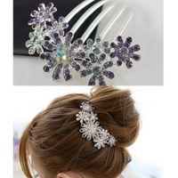 Others beauty drops pin - Women Beauty Crystal Rhinestone Petal Tuck Comb Flower Hair Pin Hair Clip Fashion Jewelry Drop Shipping Headwear