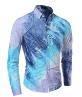 batik dyes - 2106 new high quality men s casual tie dyed color three mile long sleeved shirt Slim