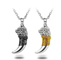 Wholesale Stainless Steel Dragon head Pendant Men s Necklaces Wolf teeth with Leather Rope