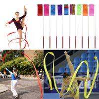 achat en gros de salle de gym bâton-Ballet Gymnastique New 4M Colored Ribbon Gym Rythmique Art Danse Ruban Streamer Twirling Bâton Rod Multi Couleurs Livraison gratuite