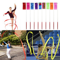 al por mayor palo de gimnasia-Ballet Nuevo 4M gimnasia de color de la cinta gimnasia rítmica arte de la danza de la cinta Streamer de giro de Rod multi palillo de colores el envío libre