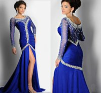 Wholesale 2015 New Arrival Royal Blue Evening Dresses Sexy Forma Long Sheer Sleeve Celebrity Special Occasion Dress Mermaid Crystals Prom Pageant Gown