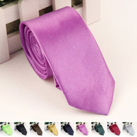 Wholesale Whoesale Fashion Casual Slim Tie Solid Color Skinny Necktie Formal Wedding Dress Party Ties For Men Colors YE0007 Salebags