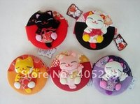 Wholesale Japanese Collection Kimono Brocade Chirimen Lucky Cat Makeup Mirror pocket mirror cosmetic mirror Genuine Goods