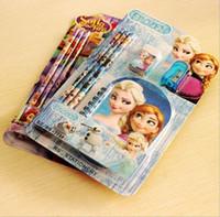 Wholesale cartoon Stationery sets for kids school supplies Pencil eraser book sharpener Stationery gift