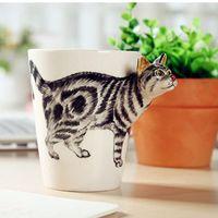 animal shaped mugs - Creative Ceramic Mug D Animal Shape Hand Painted Giraffe Cow Monkey Dog Cat Camel Elephant cup Milk Cup Breakfast Coffee Cup
