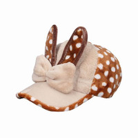 Wholesale Trendy Lady Dot Ribbit Baseball Caps Warm Coffee Plush Casual Street Hats Outdoor Sports Travel Caps With Bowknot ENB6