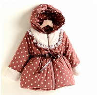 Coat Girl Spring / Autumn Winter Children Outerwear & coats Fashion kids girls coat children thicken coat baby girl's hoodie Children's winter polka dot coats