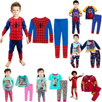 Wholesale fashion toddler baby boys long sleeve spiderman pajama sets new frozen children kids pyjama sleepwear clothing sets