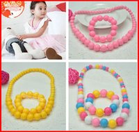acryl beads - 2015 New Children s Girls Acryl Necklace Bracelet Sets Candy Color Beads Girls Jewelry Set Kids Ornaments Accessories Set Free Ship