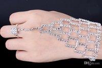 Wholesale Bridal fashion wedding rhinestone girl lady women chain dancing gloves wedding bracelet w finger ring