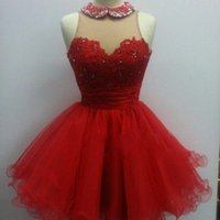Cheap Red Tulle Short Sweetheart Homecoming Dresses Under 100 with Crystal Sheer Corset Cheap Prom Dresses Real Image Formal Dresses Custom Made
