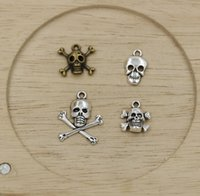 bronze charms - MIC Antiqued Silver Antique Bronze Skull Charms Pendants Jewelry DIY
