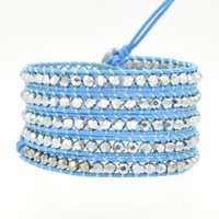 american food europe - 2015 Hot Sale Europe and USA Popular Series Blue Color Genuine Leather Woven Crystal Beaded Five Wraps Bracelet