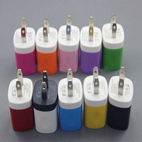 Wholesale Candy Colored US Plug USB Power Wall Home Travel Charger Adapter For iPhone S S samsung cell phones