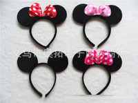 mouse animal - Children Mickey and Minnie mouse ears headband girl boy Hair Sticks kids birthday party supplies decorations A038
