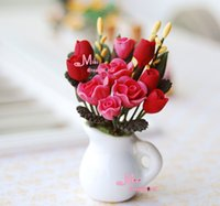 Wholesale RED ROSE W WHITE PORCELAIN VASE flower Clay Plant Dollhouse Miniature OP31B