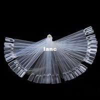 Wholesale 50 False Nail Art Board Tip Stick Sticker Polish Foldable Display Beauty Practice Fan Clear White