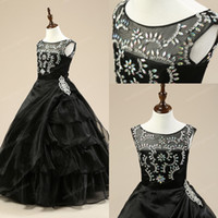 Wholesale Pageant dresses for girls Flower girl dress kids ball gowns for teens juniors beaded Real image Custom Made