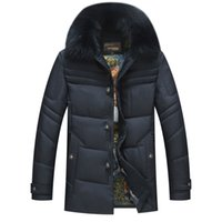 age hood - Fall Men Winter Jackets With Fur Trim Hood Long Khaki Parka Middle aged Man Luxury Down Jackets casual Warm Thick Blue Army Green xl