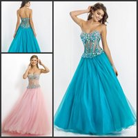Wholesale HY Sparkle Rhinestone Beaded Prom Evening Gowns See Through Sweetheart Zipper Backless Floor length Long Graduation Homecoming Dress