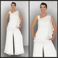 beaded suits - Mother s Suit Elegant White One Shoulder Plus Dress Casual Dress White Chiffon Beaded Sequins Mother Of the Bride Pant Suits