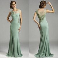 Wholesale Charming Crew Sheer Top Mermaid Evening Dresses Beading Backless Pageant Dress Elastic Satin Prom Gowns Sequins High Quality Custom Mad