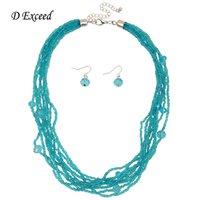 al por mayor collar de acrílico-Moda joyas Set plástico acrílico Waterdrop piedras preciosas collar pendiente conjuntos para Joyería JS150167