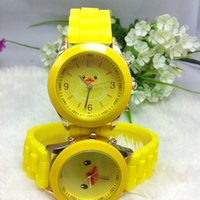 Wholesale New Fashion Cute Yellow Duck Rubber Geneva Quartz Wristwatches SOFT Silicone Band Sports Watches for Boys Girls Kids