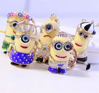 Wholesale Fashion D Despicable Me Action Figure Bling Diamond Keychains Cartoon Minions Metal Diamond Keyring Car Key Ring Pendent
