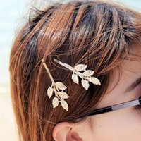 Wholesale Fashion Wedding Hair Accessories gold plated Olive Branches Leaves Bride Hairpin Side Folder hair jewelry For Women