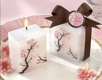 Wholesale 5 CM Christmas Gifts Cherry Blossom Mini Pillar Candle Favors Wedding supplies