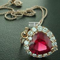 9ct gold - 9K CT Rose Gold Filled Heart Of The Ocean Elegant Necklace N133
