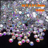 Wholesale ss3 Crystal AB Rhinestones Glass Flatback Round Nail Art Strass Crystals and Stones for Jewelry Crafts Clothes Decorative pc